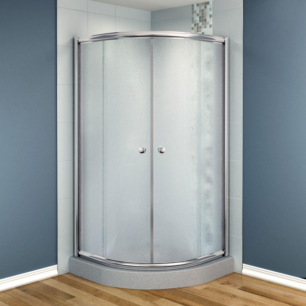 MAAX Talen 42 in. x 42 in. x 70 in. Neo-Round Frameless Corner Shower Door Frost Glass in Chrome Finish-DISCONTINUED