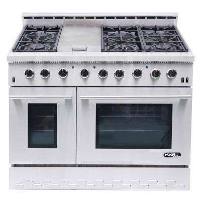 Entree 48 in. 7.2 cu. ft. Professional Style Liquid Propane Range Double Oven with Convection Oven in Stainless Steel