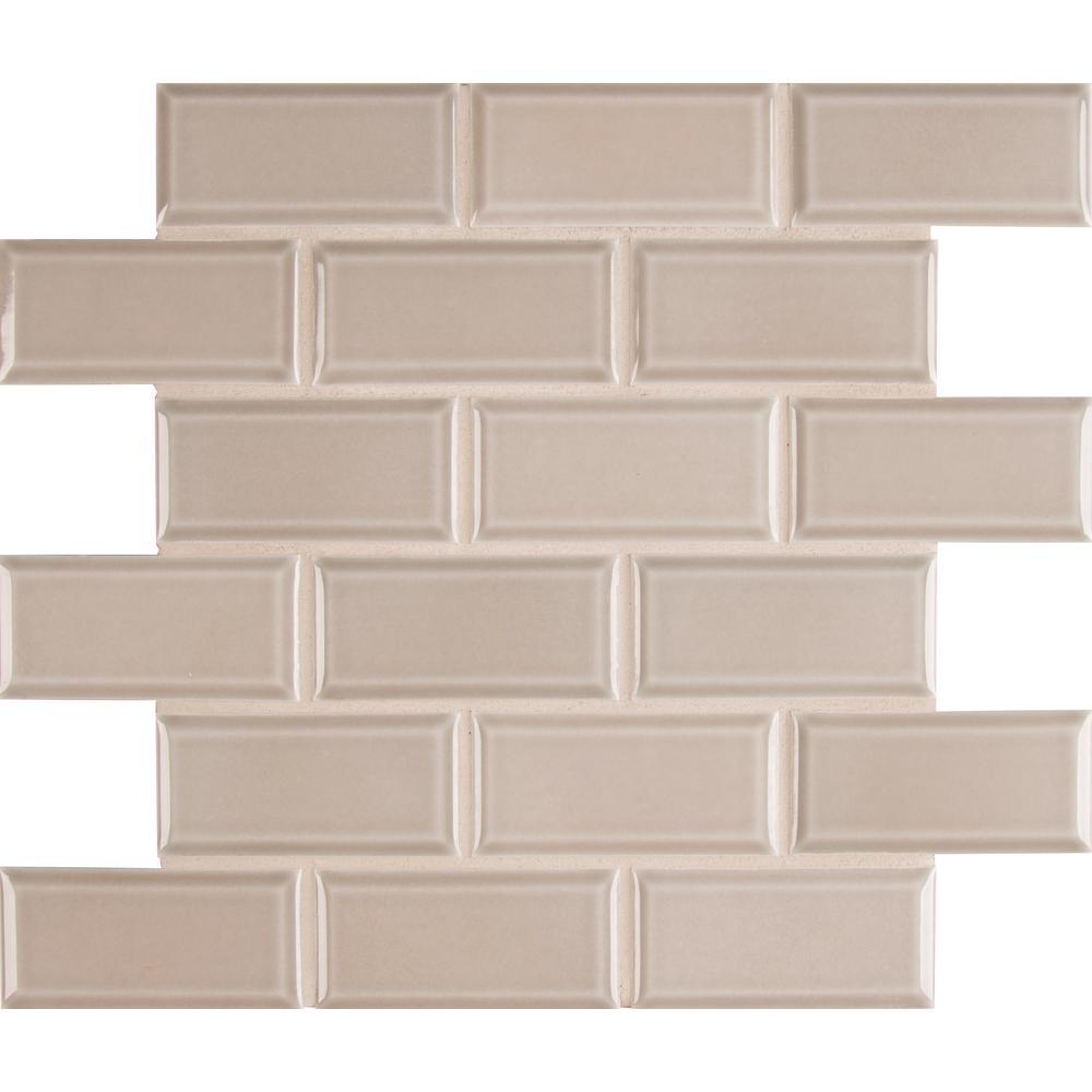 Smoke Beveled 11 in. x 12 in. x 6mm Glazed Ceramic Mesh-Mounted Mosaic Tile (13.41 sq. ft. / case)