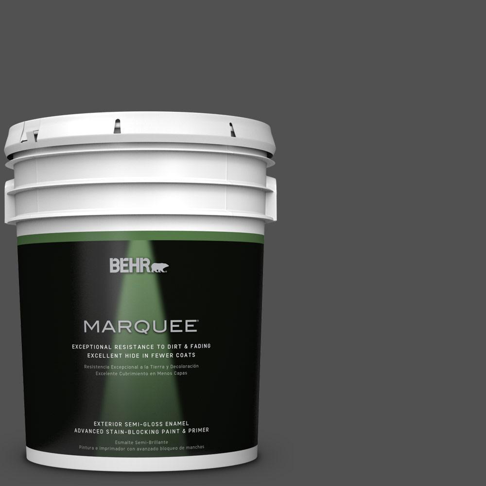 5-gal. #N460-7 Space Black Semi-Gloss Enamel Exterior Paint