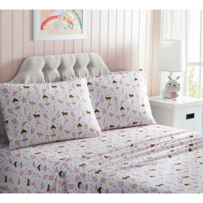 Kids Pink Printed Microfiber Queen Sheet Set