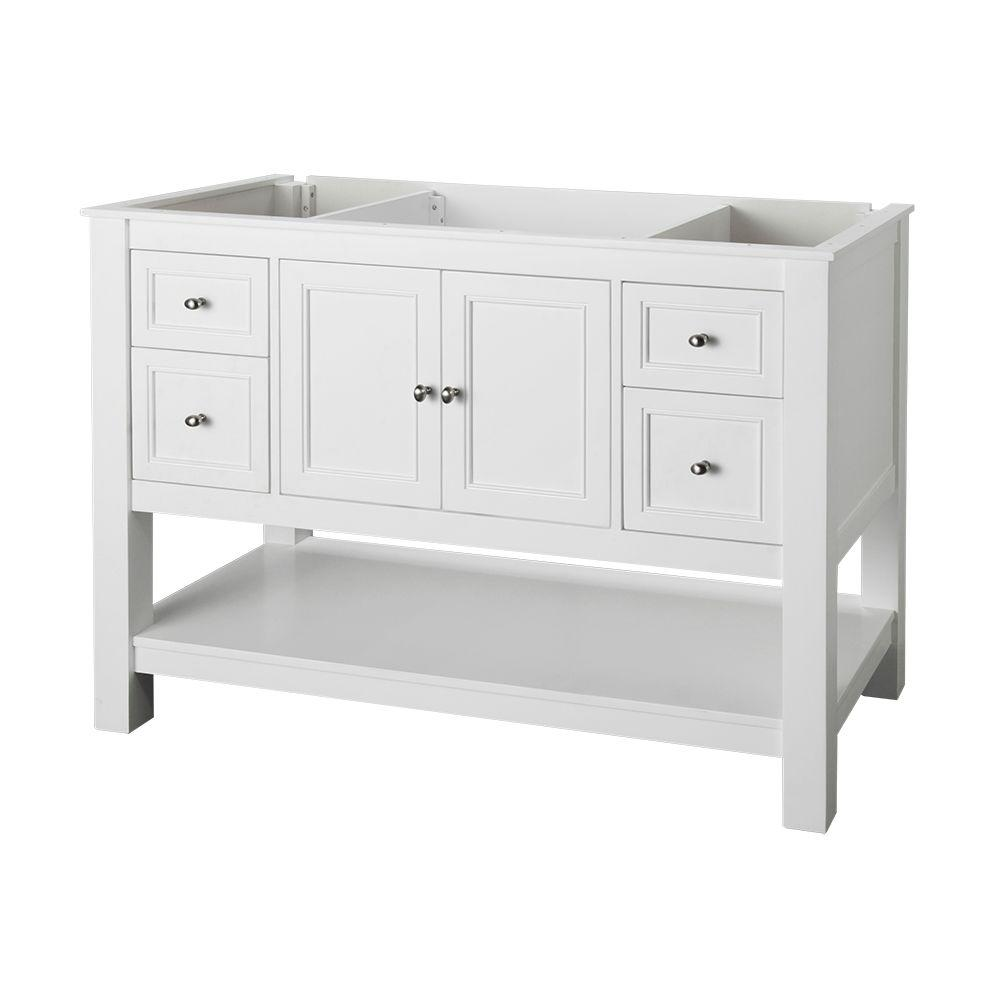 Beau Gazette 48 In. W Bath Vanity Cabinet Only In White
