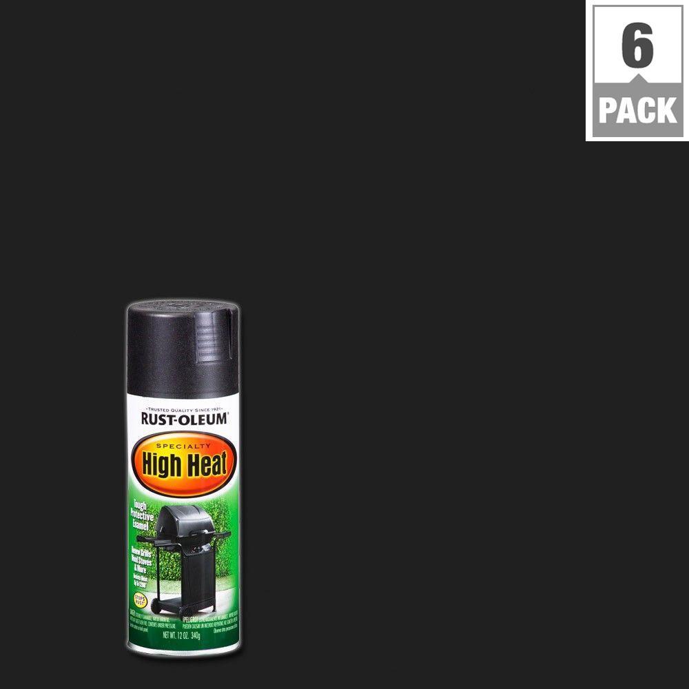 12 oz. High Heat Satin Bar-B-Que Black Spray Paint (6-Pack)