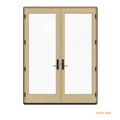 72 in. x 96 in. W-4500 Contemporary Red Clad Wood Left-Hand Full Lite French Patio Door w/Lacquered Interior