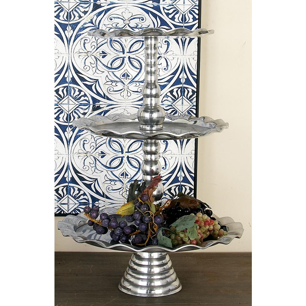 24 in. Polished Silver Aluminum 3-Tiered Round Wavy-Ribbon-Rimmed Tray Stand