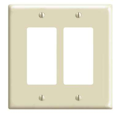 2-Gang Decora Midsize Wall Plate, Ivory