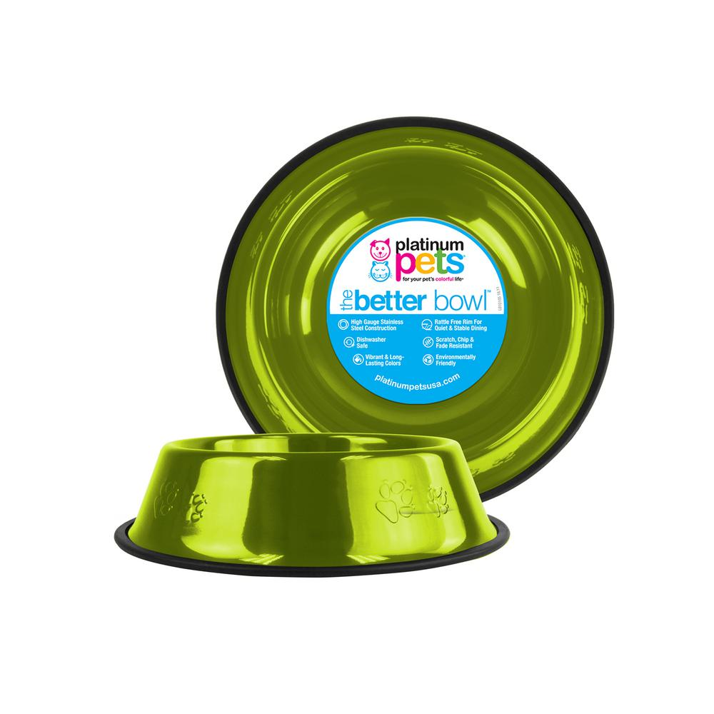 Platinum Pets 3.5 Cup Embossed Non-Tip Stainless Steel Dog Bowl, Corona Lime