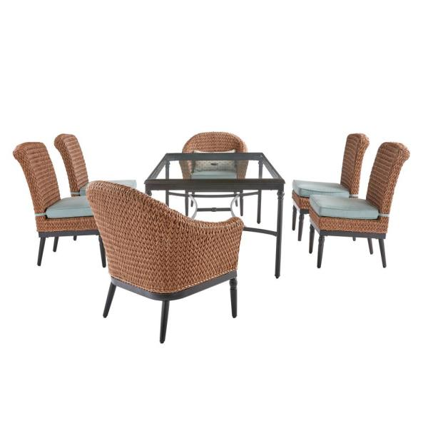 Camden 7-Piece Seagrass Light Brown Wicker Outdoor Patio Dining Set with Sunbrella Cast Spa & Fretwork Mist Cushions