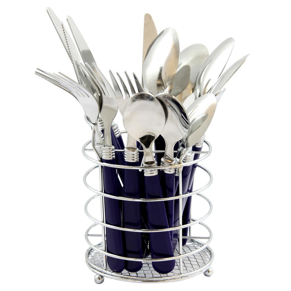 Sensations II 16-Piece Cobalt Handles Stainless Steel Flatware Set