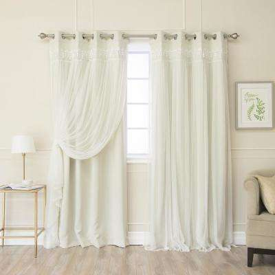 Ivory 84 in. L Elis Lace Overlay Room Darkening Curtain Panel  (2-Pack)