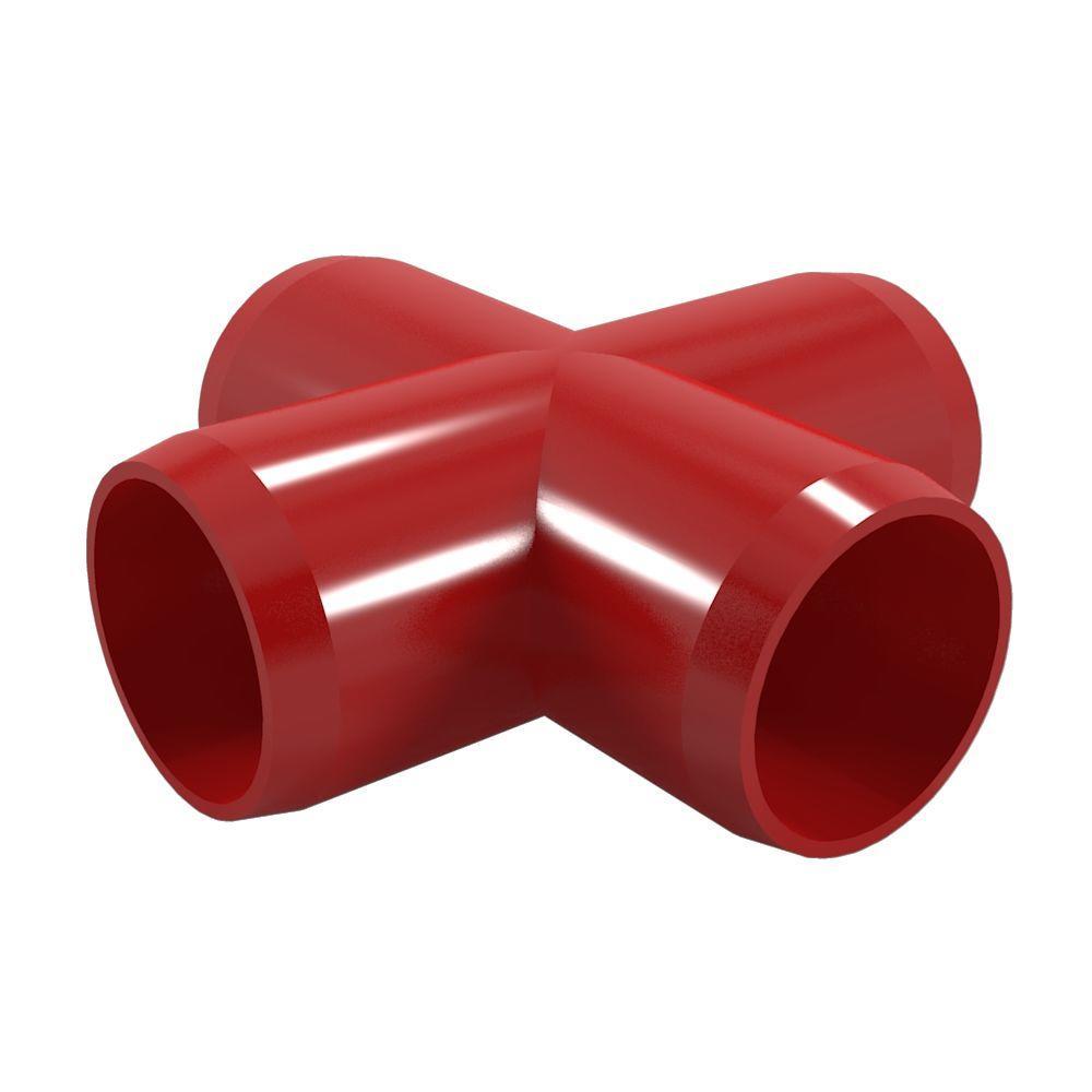 1 in. Furniture Grade PVC Cross in Red (4-Pack)