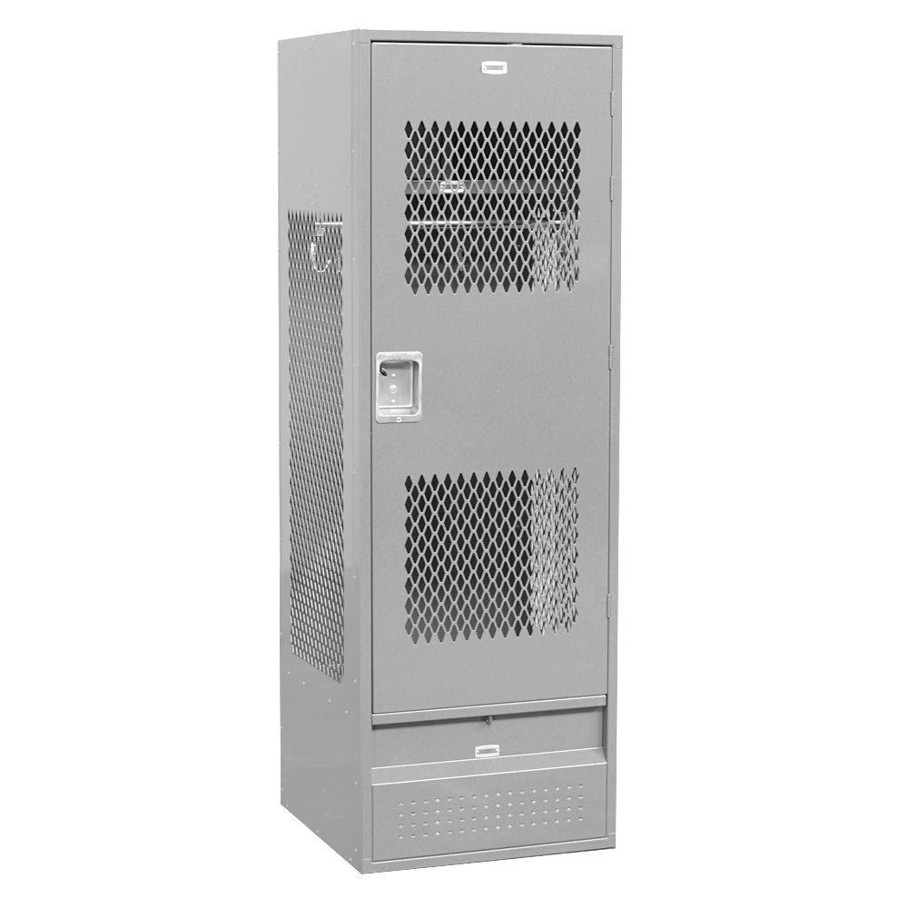72000 Series 24 in. W x 72 in. H x 24 in. D Gear Metal Locker with Ventilated Door Unassembled in Gray