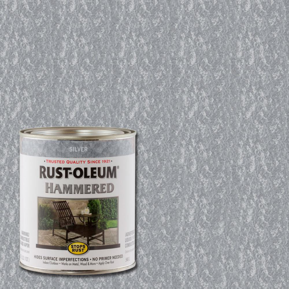 Rust Oleum Stops Rust 1 Qt Silver Hammered Rust Preventive Interior Paint