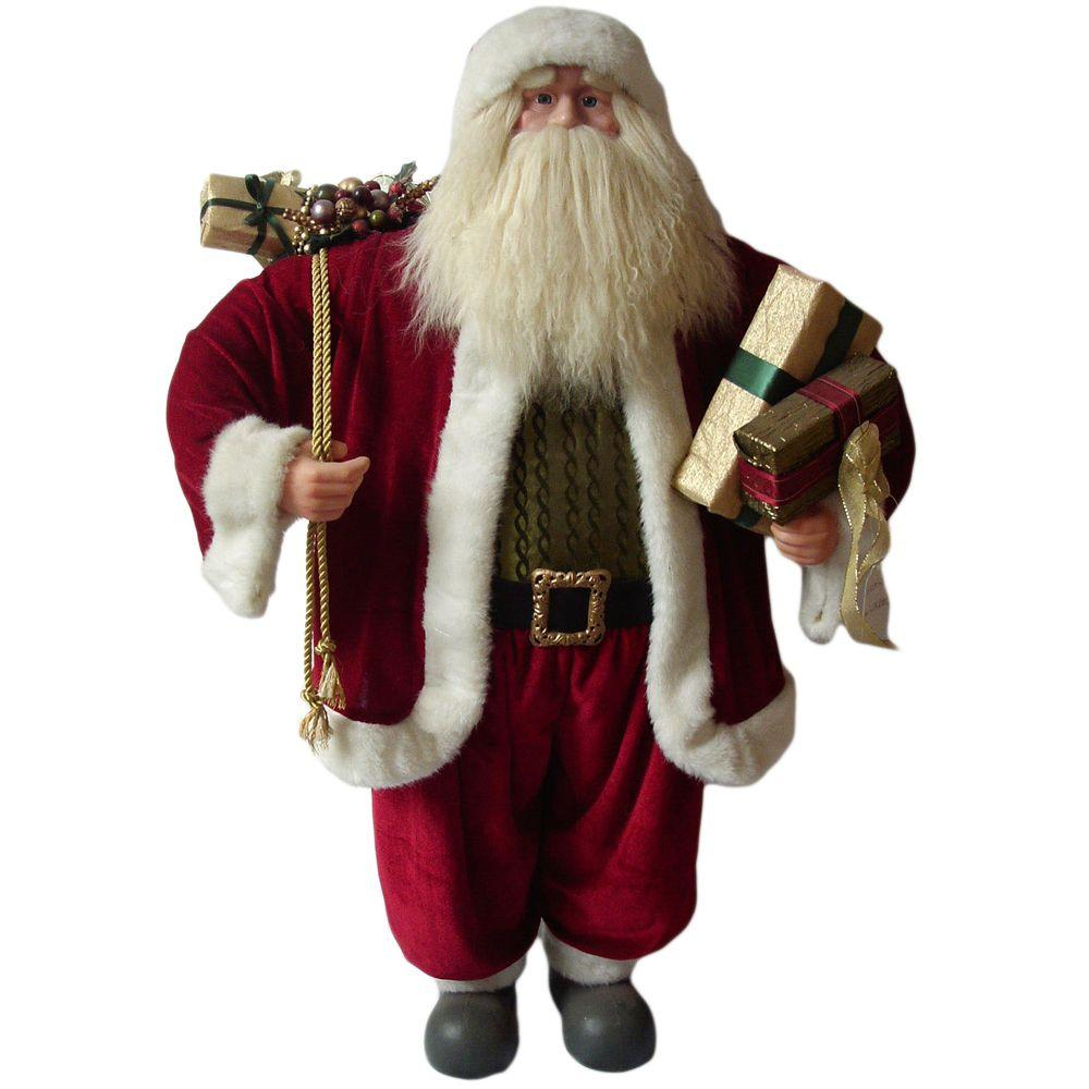 null 36 in. Santa Traditional Standing Red Suit Holding Presents and Gift Bag