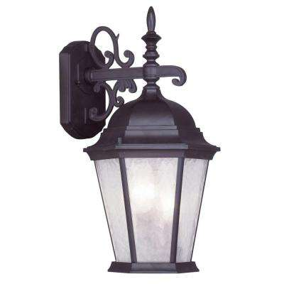 3-Light Bronze Outdoor Wall Lantern Sconce with Clear Water Glass