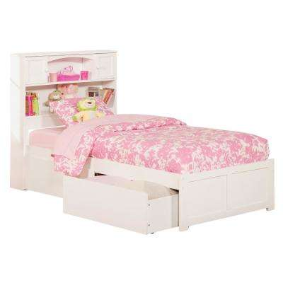Newport White Twin Platform Bed With Flat Panel Foot Board And 2 Urban Bed  Drawers