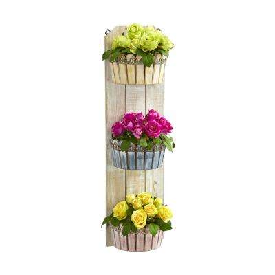 39 in. Indoor Rose Artificial Arrangement in Three-Tiered Wall Decor Planter