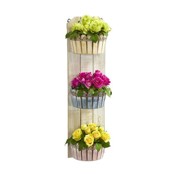 Nearly Natural 39 in. Indoor Rose Artificial Arrangement in Three-Tiered Wall