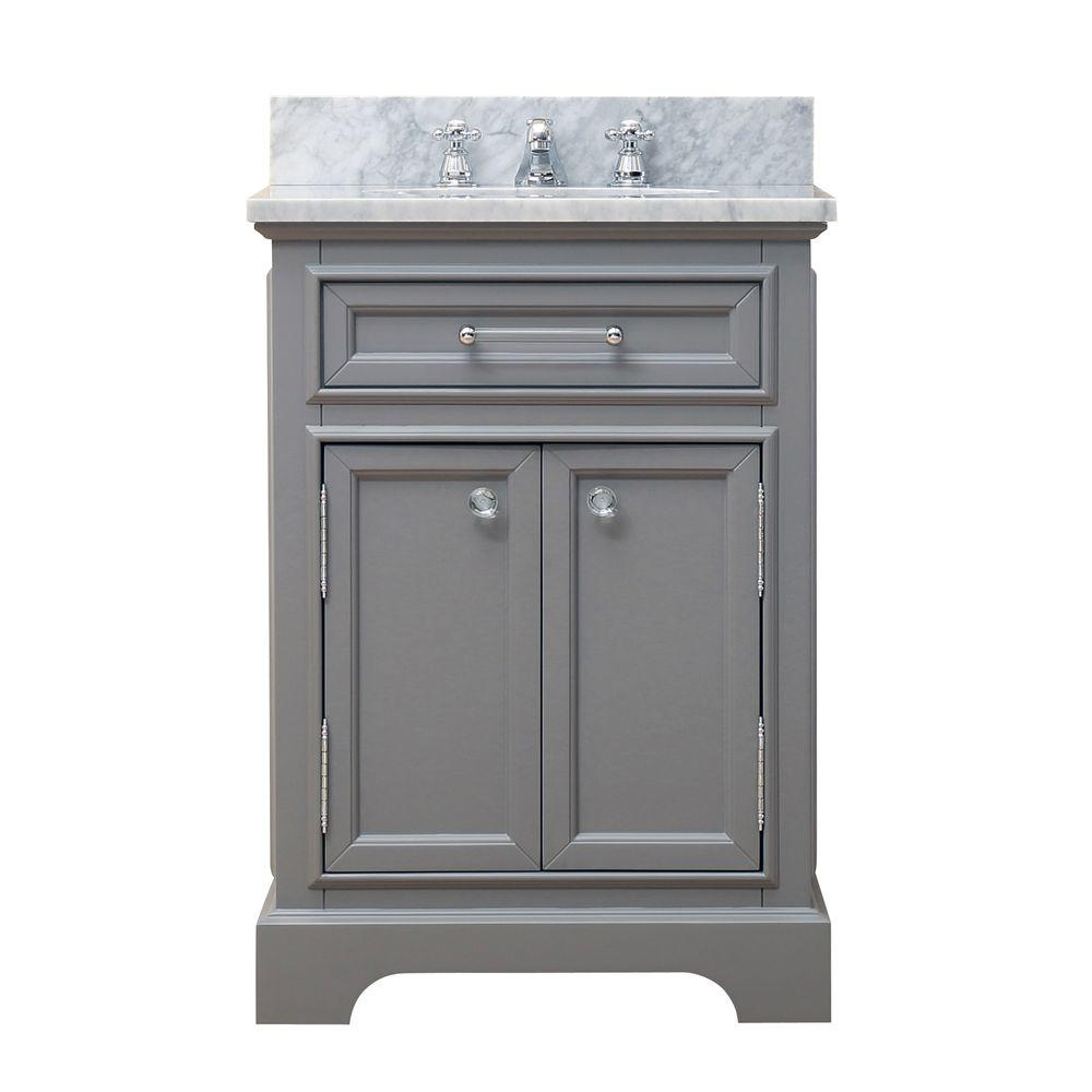 Water Creation 24 In W X 21 5 In D X 34 In H Vanity In Cashmere Grey With Marble Vanity Top In Carrara White Derby 24g The Home Depot