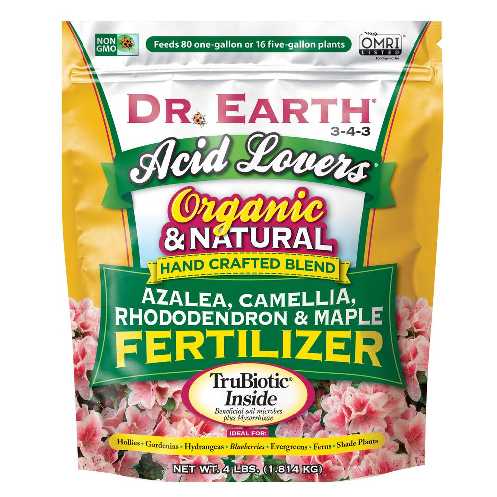 DR. EARTH 4 lbs. Organic Acid Lovers Azalea Camellia Rhododendron and Maple Fertilizer Dry Fertilizer