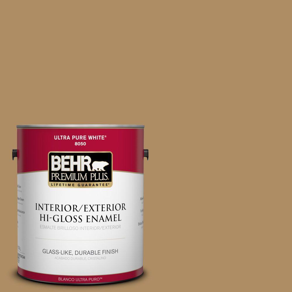 BEHR Premium Plus 1-gal. #300F-5 Brown Rabbit Hi-Gloss Enamel Interior/Exterior Paint