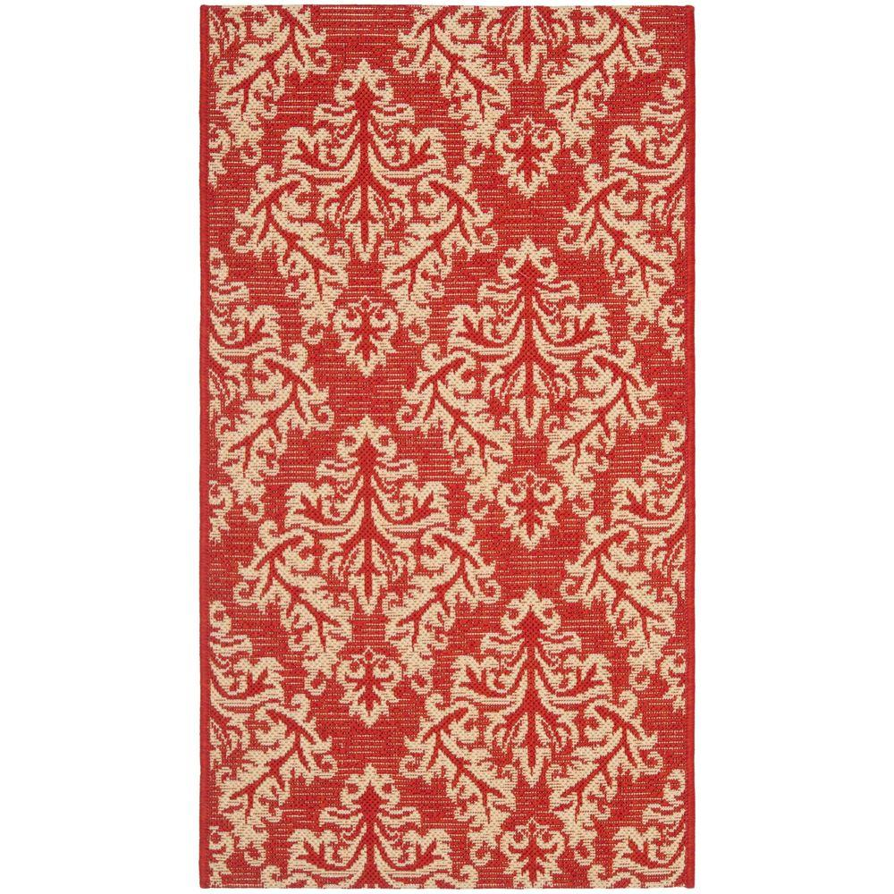 Safavieh courtyard red cream 2 ft x 3 ft 7 in indoor for Cream and red rugs