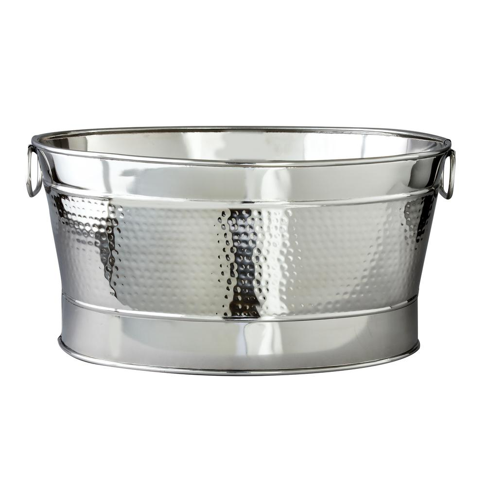 7 Gal. Stainless Steel Hammered Oval Party Tub