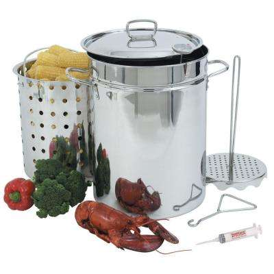 32 Qt. All-Purpose Stainless Steel Turkey Fryer with Steam/Boil Basket