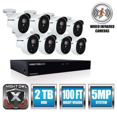 Extreme HD 8-Channel 5MP 2TB and Up HDD Surveillance Systems with 8 PIR Cameras