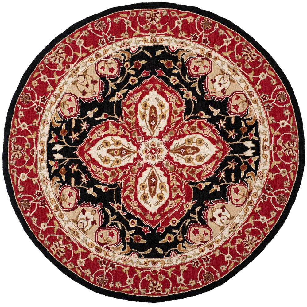 Easy Care Black/Red 6 ft. x 6 ft. Round Area Rug