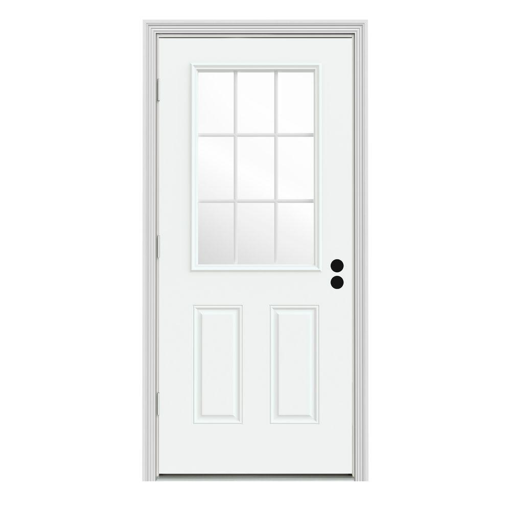 Jeld wen 32 in x 80 in 9 lite white painted steel - 30 x 80 exterior door with pet door ...