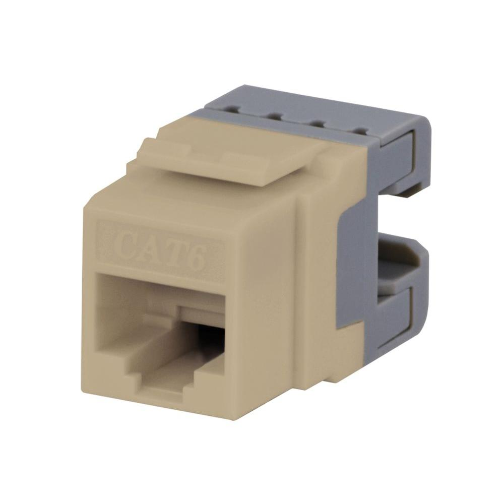 Category 6 Jack - Ivory CE TECH's Category 6 Jacks are used to terminate Category 6 network cable. It is used for Ethernet, internet, phone, fax, modem and computer networks. These keystone jacks snap into any housing or keystone wall plates.