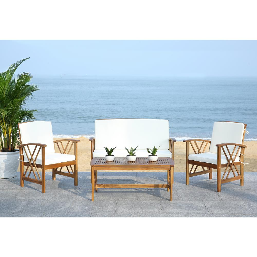 Safavieh Fontana 4-Piece Patio Seating Set Beige Cushions
