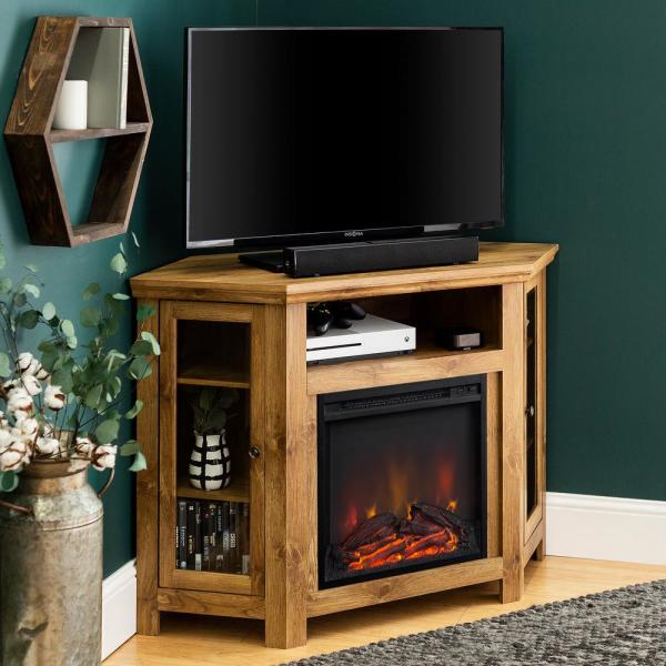 Walker Edison Furniture Company Barnwood Fire Place Entertainment Center