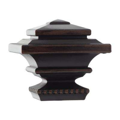 Mix and Match 1 in. Square Curtain Rod Finial in Oil Rubbed Bronze (2-Pack)