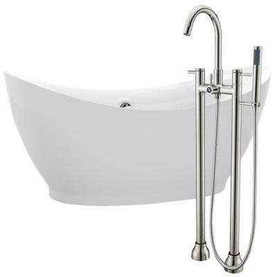Reginald 68 in. Acrylic Flatbottom Non-Whirlpool Bathtub in White with Sol Faucet in Brushed Nickel