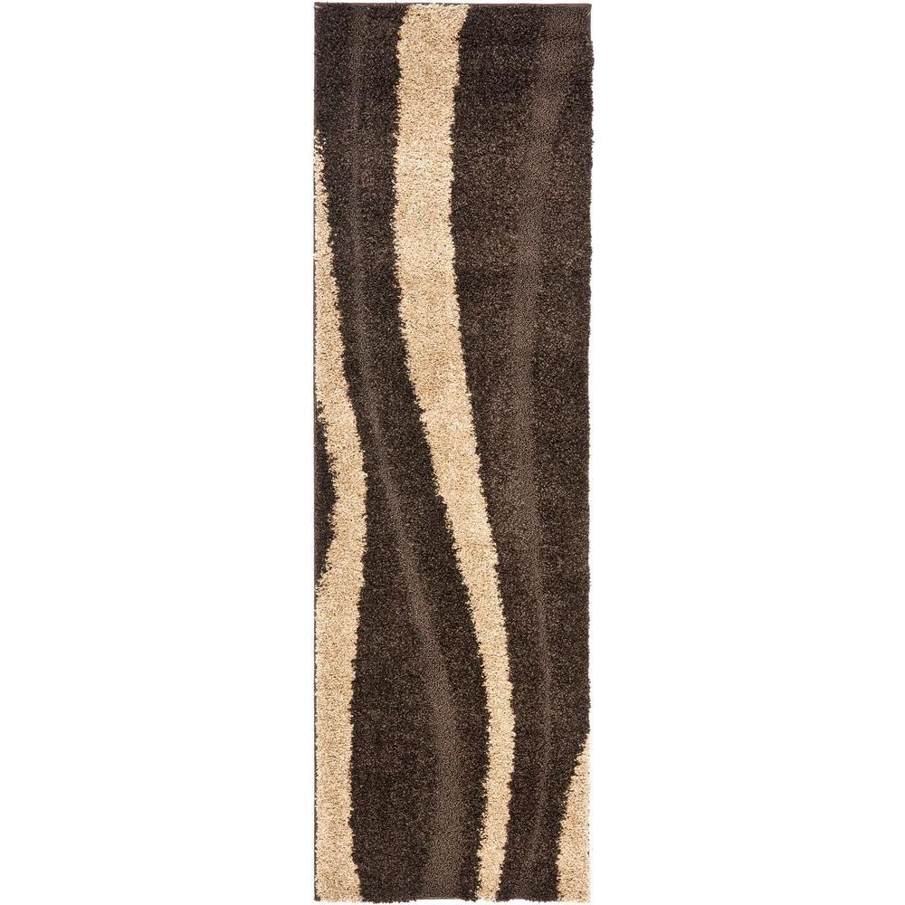 Safavieh Florida Shag Dark Brown/Beige 2 ft. 3 in. x 7 ft. Runner