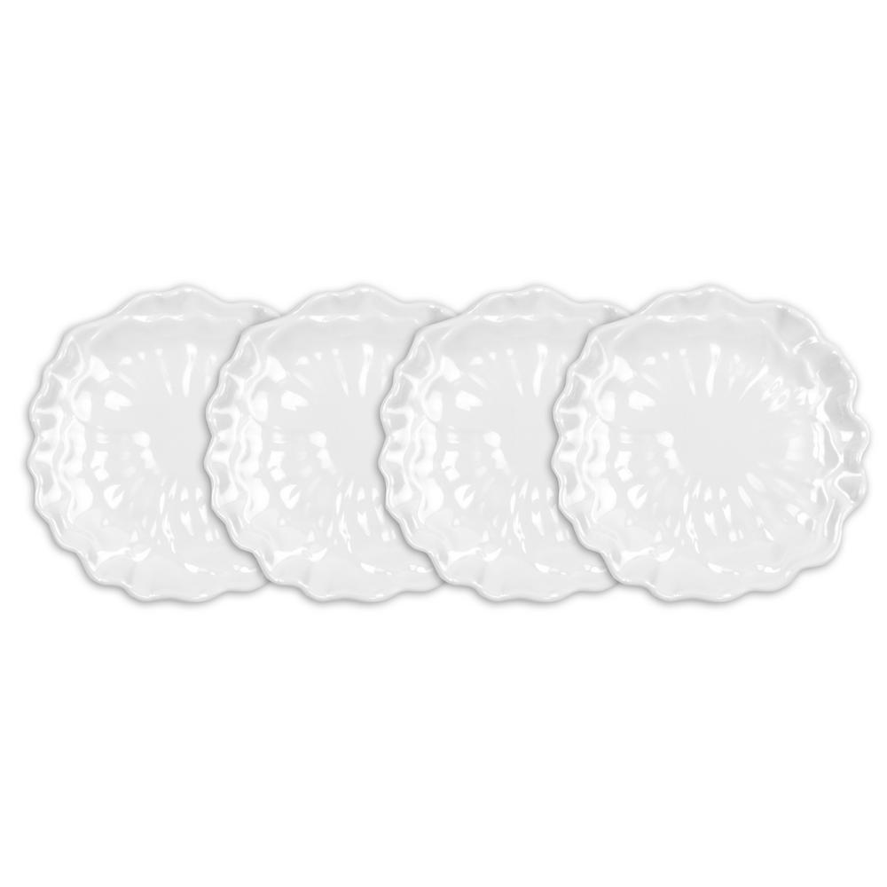 Peony 4-Piece 5.5 in. White Melamine Appetizer Plate Set