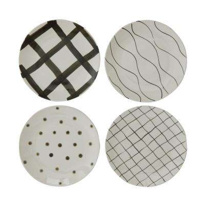 White and Black Stoneware Plates (Set of 4)