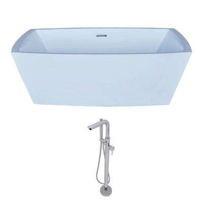 Arthur 5.6 ft. Acrylic Classic Freestanding Flatbottom Non-Whirlpool Bathtub in White and Sens Faucet in Chrome