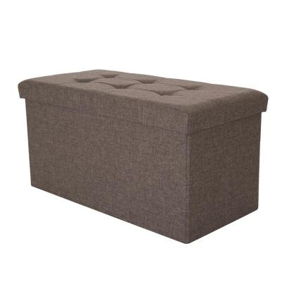 15 in. H Gray Cuboid Linen Foldable Storage Ottoman Bench with Padded Seat