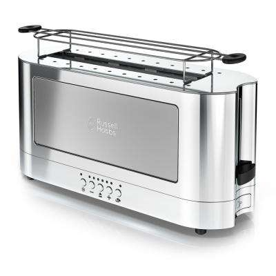 Glass Accent Long 2-Slice Silver and Stainless-Steel Toaster