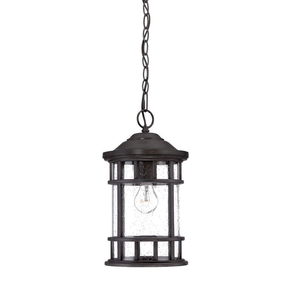 New Vista 1-Light Black Coral Outdoor Hanging Lantern