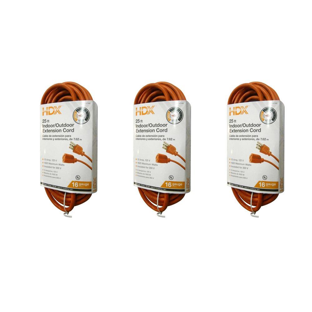 25 ft. 16/3 Indoor/Outdoor Extension Cord, Orange (3-Pack)