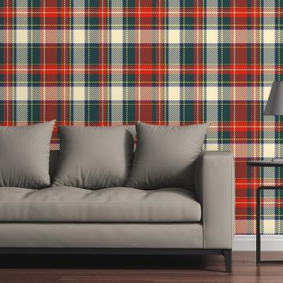 Tartan Plaid in Traditional Holiday Colors by Raygun Removable Wallpaper Panel