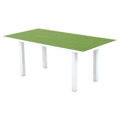 Euro Satin White/Lime 36 in. x 72 in. Patio Dining Table