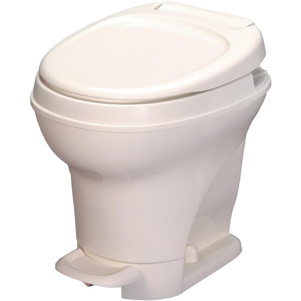 Aqua-Magic V RV High Portable Toilet Foot Pedal Flush with Sprayer- Bone