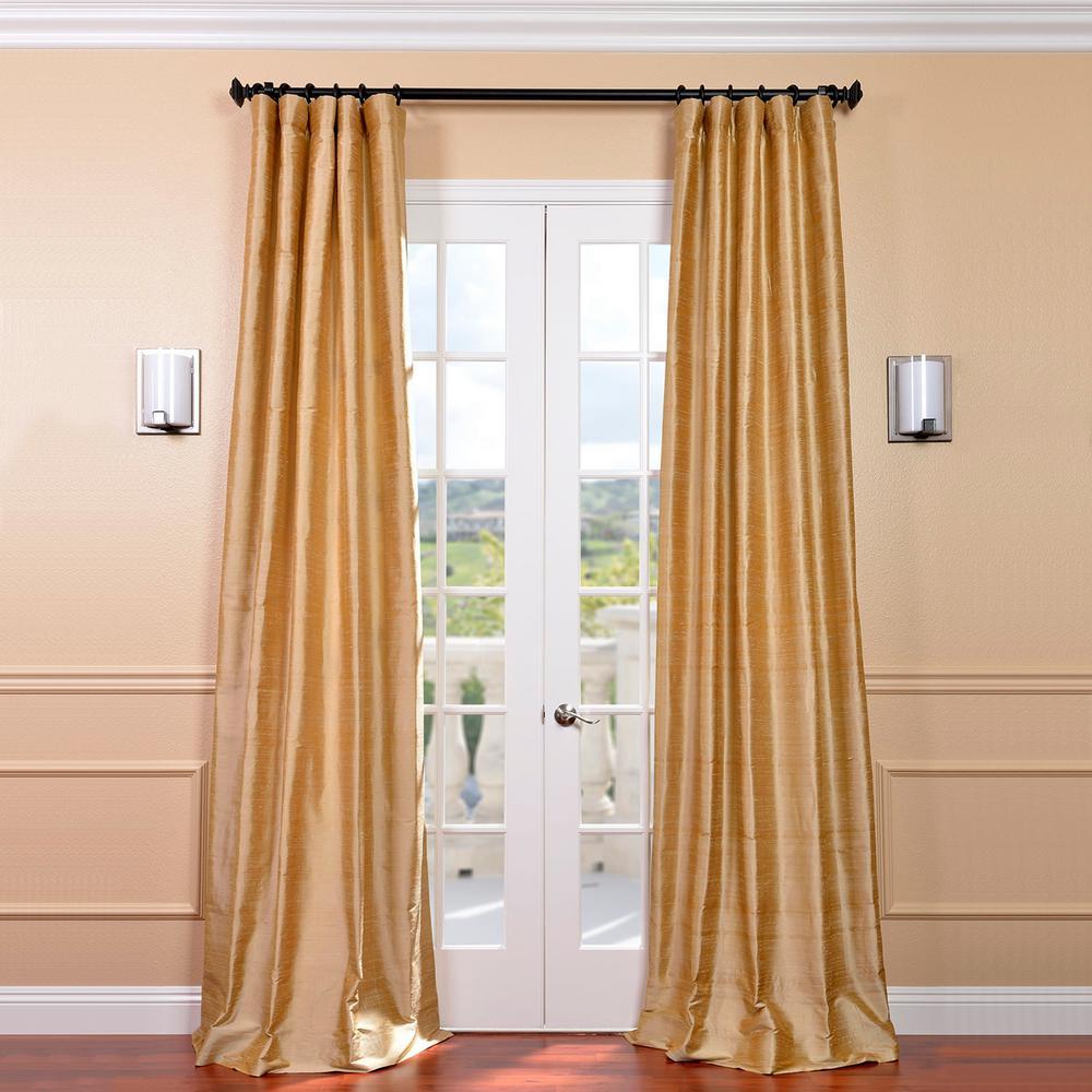 Biscotti Ivory Room Darkening Textured Dupioni Silk Curtain - 50 in. W x 120 in. L