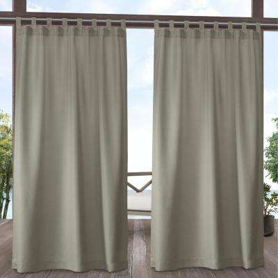 Indoor/Outdoor Solid Cabana Tab Top Curtain Panel Pair in Taupe - 54 in. W x 96 in. L (2-Panel)