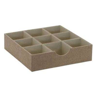 12 in. x 3 in. Square 9 Section Hardsided Tray in Latte
